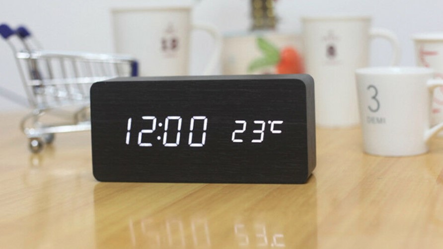 Wooden Digital LED Display Table Clock